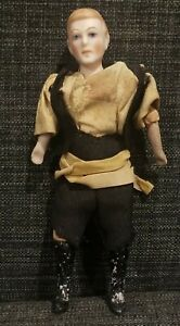 """Antique Dollhouse Doll Rare German Man Victorian Bisque Head with Boots 5"""""""