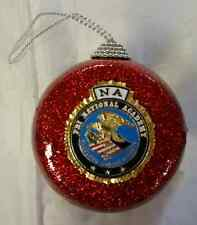 FBI NA National Academy Red Glitter Ornament w FBI NA Full Color Emblem on Front