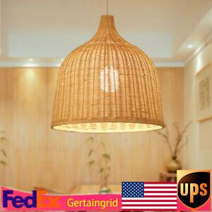 Bamboo Wicker Rattan Pendant Light Fixture Asian Vintage Hanging Ceiling Lamp
