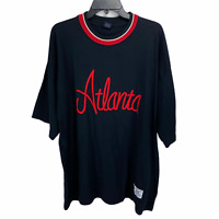 Stardom Mens Atlanta Short Sleeve T Shirt XXL Black Red Embroidered Logo Tee 2XL