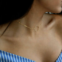 Karma Necklace, Delicate Chain/Dainty Circle Outline Choker Necklace Jewelry