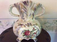 Vintage Ceramic:Vintage Japanese Crackled Glazed Ceramic Hand Painted Vase