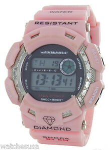 King Master Unisex Silver-tone Pink Rubber Band Diamond .12ct Digital Watch