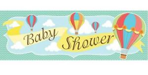 Up, Up & Away Hot Air Balloon Baby Shower Birthday Party Giant Sign Banner