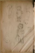 Dessin Original Fusain  LUC LAFNET (1899-1939) Etude Enfants Anne-Marie LL25