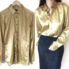 JACK LONDON Silk Gold Golden Shirt Blouse Top Long Sleeve Button Down Work 12