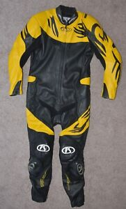 Fieldsheer Perforated Leather 1 Piece Track Suit Black Yellow CE Armor Sliders