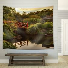 Red Bridge on a Lake Surrounded by Trees and a Kiosk - Fabric Tapestry - 51x60