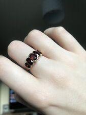Beautiful 9ct Gold Five-Stone Garnet Ring UK M