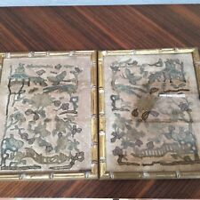 Pair Antique Qing 18thc Chinese embroidered rank badges miniscule gold threads