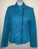 MICHAEL KORS WOMENS TURQUOISE SOFT LEATHER JACKET - SIZE XS