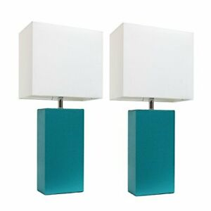 Elegant Designs LC2000--2PK 2 Pack Modern Leather Table Lamps with White Fabr...