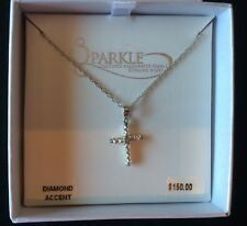 """Sparkle 18"""" Sterling Silver Diamond Accent Cross Necklace Brand New"""