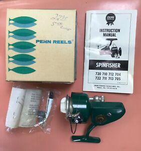 Vintage Penn 712  Greenie Spinfisher Reel With Original Box Paperwork USA Unused