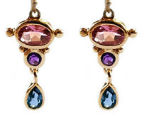 E080 Genuine 9ct Gold Natural Pink Tourmaline Amethyst Drop Earrings - Pride