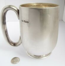 LOVELY LARGE CLEAN HEAVY ENGLISH ANTIQUE 1927 SOLID STERLING SILVER PINT TANKARD
