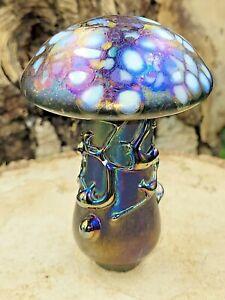 Neo Art Glass handmade multi iridescent mushroom paperweight signed Kris Heaton