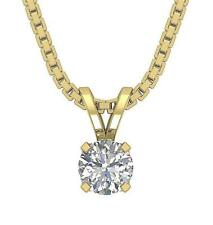I1 G 0.25 Ct Round Diamond U Shape Prong Set Solitaire Pendant 14K Yellow Gold