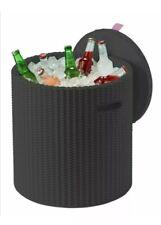 Keter Knit Cool Stool Outdoor 39L Cool Bar Ice Cooler Rattan Garden Furniture