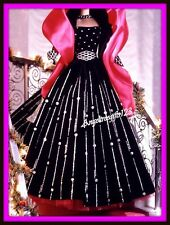Beautiful Black velvet & silver holiday gown fit Model muse and silkstone Barbie