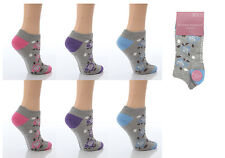 6 Pairs AT22 Ladies Soft Top Cotton Trainer Socks Roses Design Size 4-8 UK