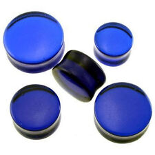 "1 Pair GIANT 9/16"" 14mm Blue Glass Stone Saddle Plugs Ear Organic Double Flare"