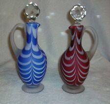 Pair Nailsea Feather or Drape Pattern Oil Bottle Cruets