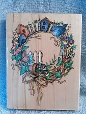 Birdhouse Wreath R041 Rubber Stamp by Stampendous-New