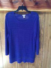 Chico's Women's purple Acrylic Nylon 3/4 Sleeve Pullover Sweater Size 2