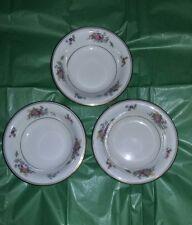 "Lamberton Ivory China 3 Dessert Fruit 5"" Bowls ROSE OF LAMBERTON"