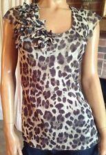 New York & Co, SZ (L) V-Neck,Self Lined,Cap Sleeve, Animal Print,Tunic/Top/Shirt