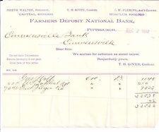 1892 Farmers Deposit National Bank Joseph Walton T. H. Given J. W. Fleming Pa