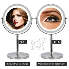 10x Magnifying Vanity Standing Makeup Mirror LED Double-Side Bathroom Mirror UK