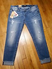 Silver Aiko SKINNY Ankle Jeans Size 33 Mid Rise Lycra Extra Life Denimotion