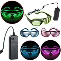 Neon LED Light Up Shutter EL Wire Glasses Glow Frame Dance Party Nightclub Nice