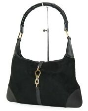 Authentic GUCCI Jackie O Black Pony Hair and Leather Tote Hand Bag Purse #37552