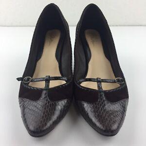 Cole Haan Women 9 B Brown Snake Skin Nubuck Heels Pumps Buckle Shoe