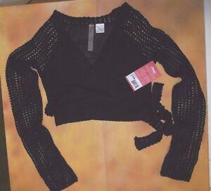 NEW CAPEZIO Crop Wrap Sweater Black CK1000W Ladies Sizes OpenWeave