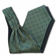 Mens Green 'Under Shirt' Cravat Tie Royal Ascot Blue and White Diamond Pattern