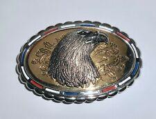 Vintage Bald Eagle Patriot Belt Buckle Red White Blue Enamel America USA    BB20