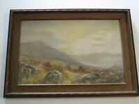 ANTIQUE  PAINTING DESERT GLOW  MOUNTAIN  LANDSCAPE VIEW LISTED   CARVED FRAME