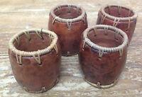 Pier 1 Handmade Pottery Barrel Raffia Tamarind 4 Napkin Rings Anneaux Serviettes