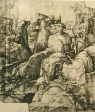 Vintage Museum Print of Old Master Sketch Renaissance Figures in Mountains #758