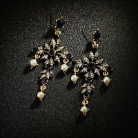 Earrings Nails Golden Lacework Cross Black Navy Blue Pearl Baroque XX29