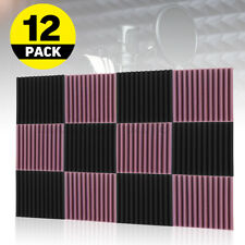 More details for 48 acoustic wall panel tiles studio sound proofing insulation foam black+purple