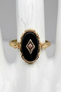 Antique 1940s 4ct Natural Black Onyx Pink Diamond 10k Yellow Gold Ring
