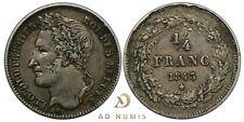 TRES RARE ! 1/4 franc 1843 Léopold Ier tête laurée Belgique TTB - Argent