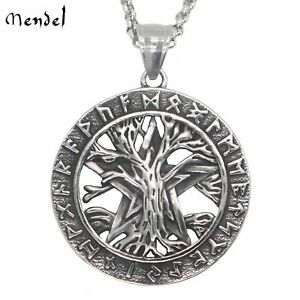 MENDEL Viking Rune Mens Celtic Tree of Life Pendant Necklace Stainless Steel Men