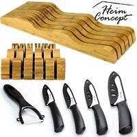 HEIM Chef Cutlery Kitchen Knives & in Drawer Storage Block Full Knife 6 pc Set