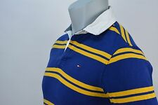 Vintage TOMMY HILFIGER Rugby Long Sleeve Polo Shirt | Size XS | Blue & Gold